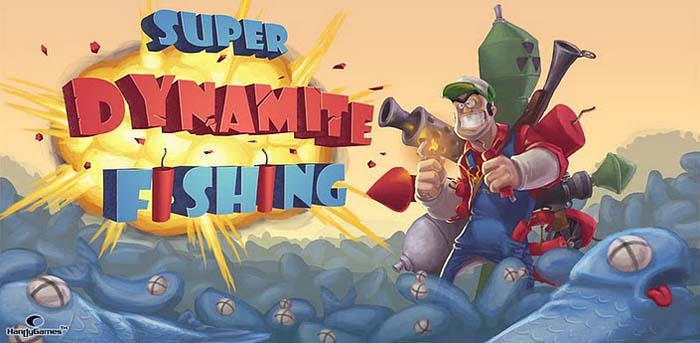Image of the game Super Dynamite Fishing - featuring a man armed to the teeth and a sea full of dead fish