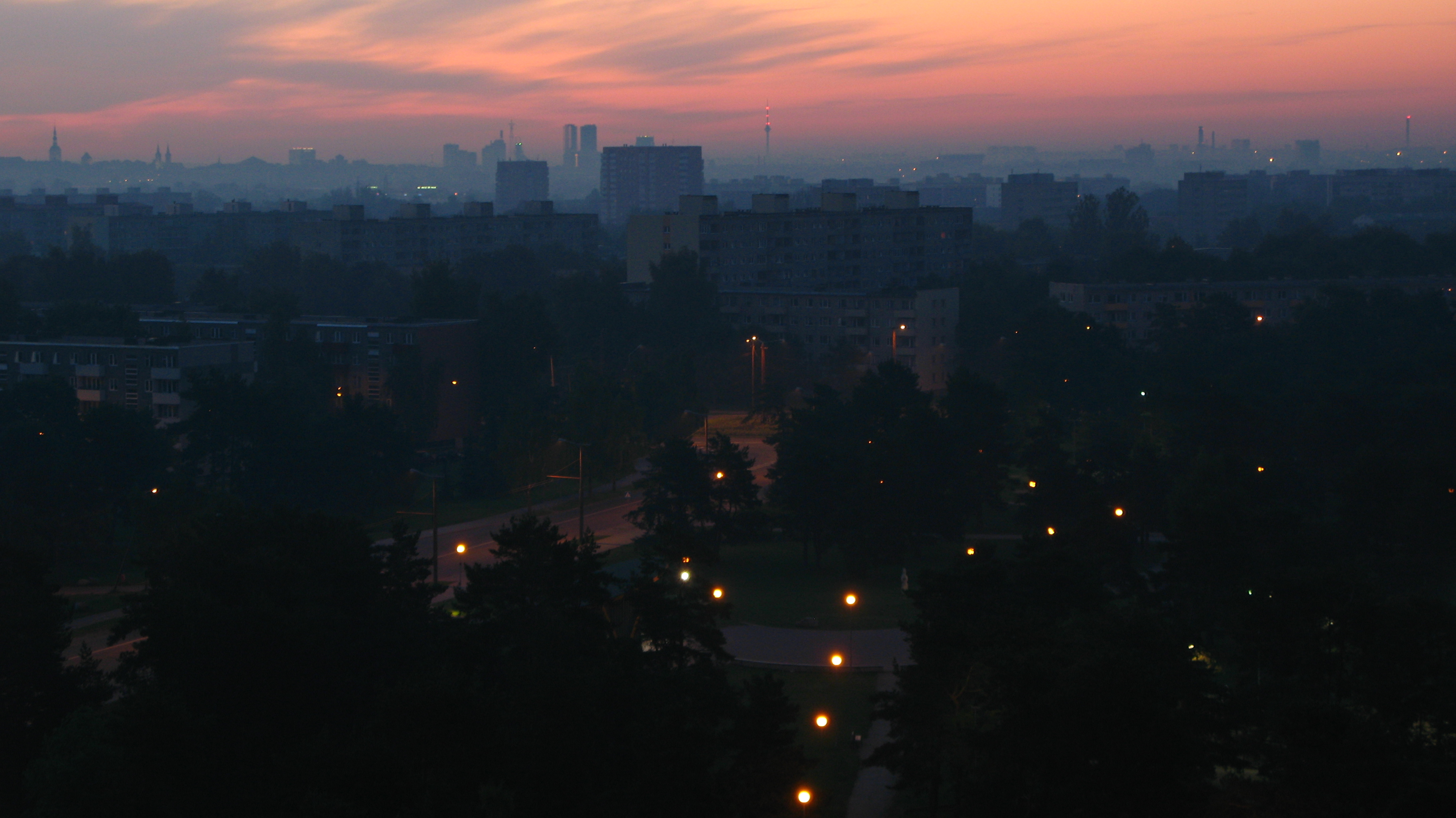 A park with street lamps before sunrise, city center on the background