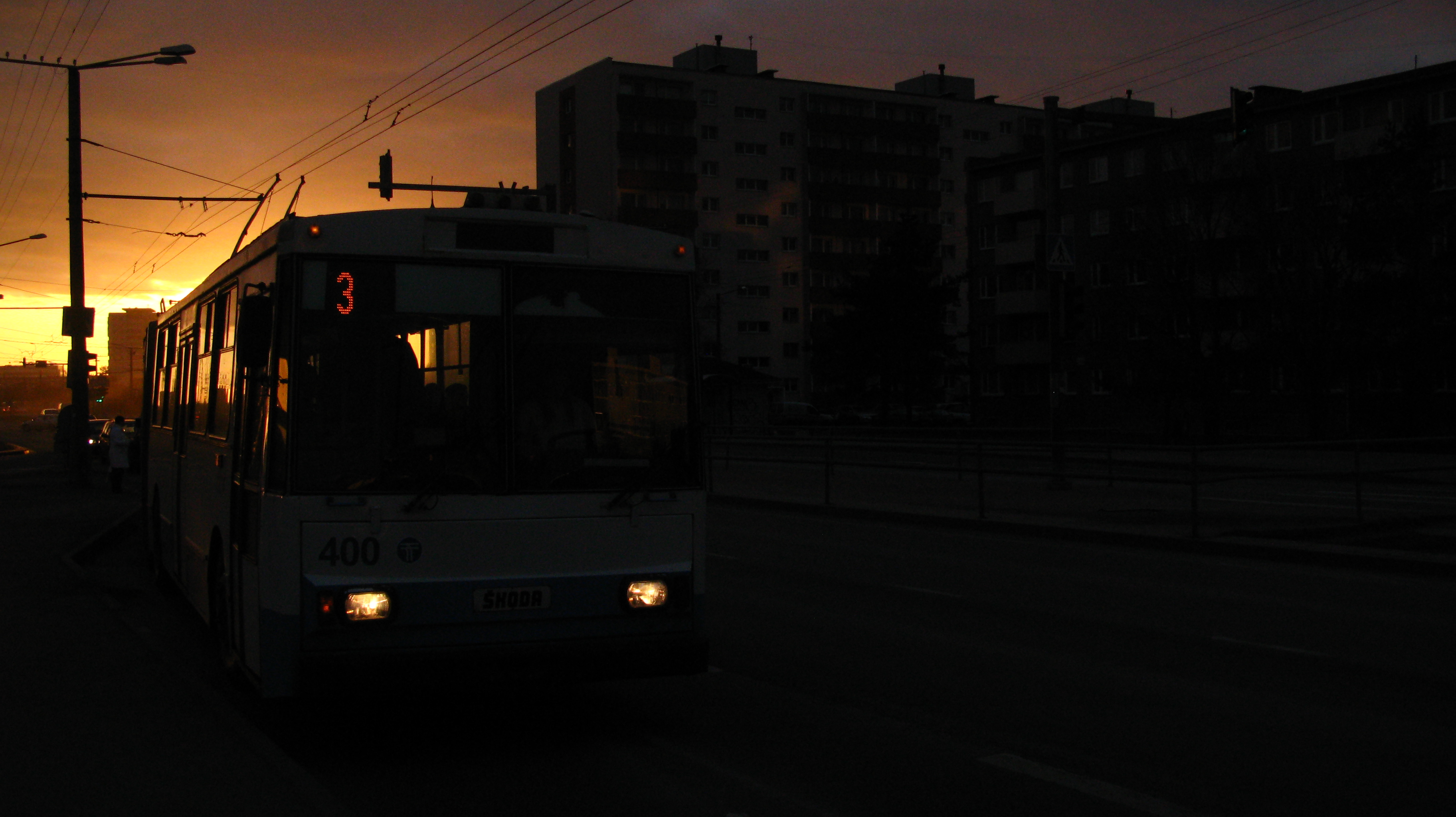 Trolley stop at sunset